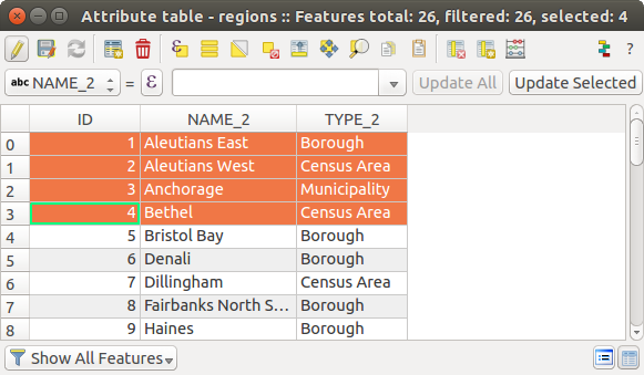 Working with the Attribute Table