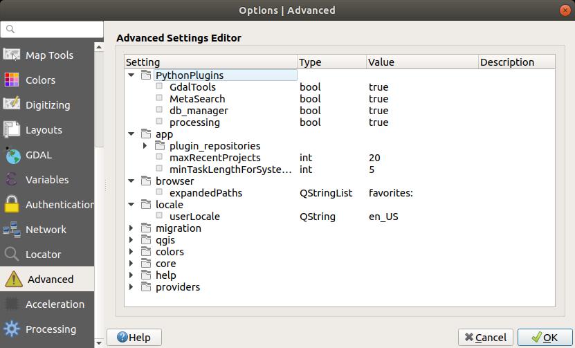 QGIS Configuration
