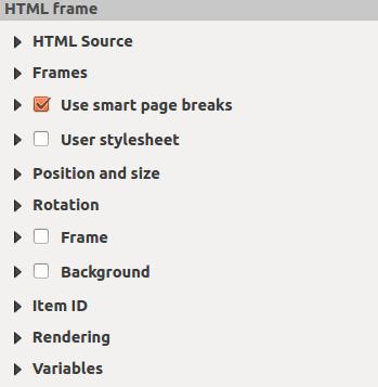 The HTML Frame Item